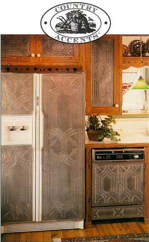 I Did This To My Kitchen Cupboards In Naples Ny In Copper It Was Gorgeous Appliance Fronts Collection Punched Tin Backsplash Hide Appliances Rustic Kitchen