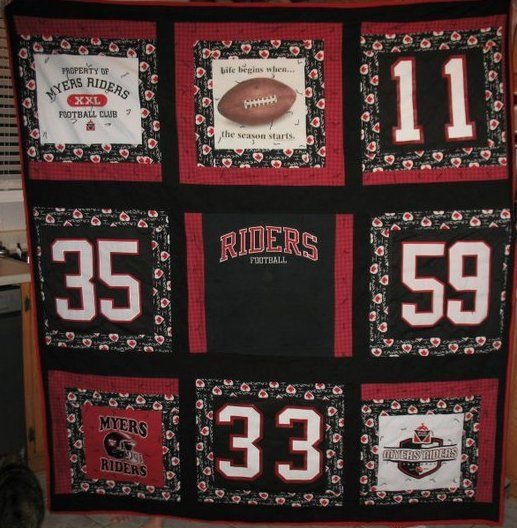 Made with Ottawa Myers Riders football jerseys, t-shirts and a ... : quilts made from sports jerseys - Adamdwight.com