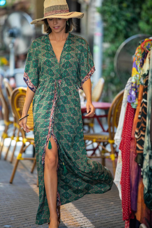 Green Silky Kaftan Summer Dress, Women Resort Vacation Beach Dress, Long Ethnic Loose Hippie Wide Sleeves Dress
