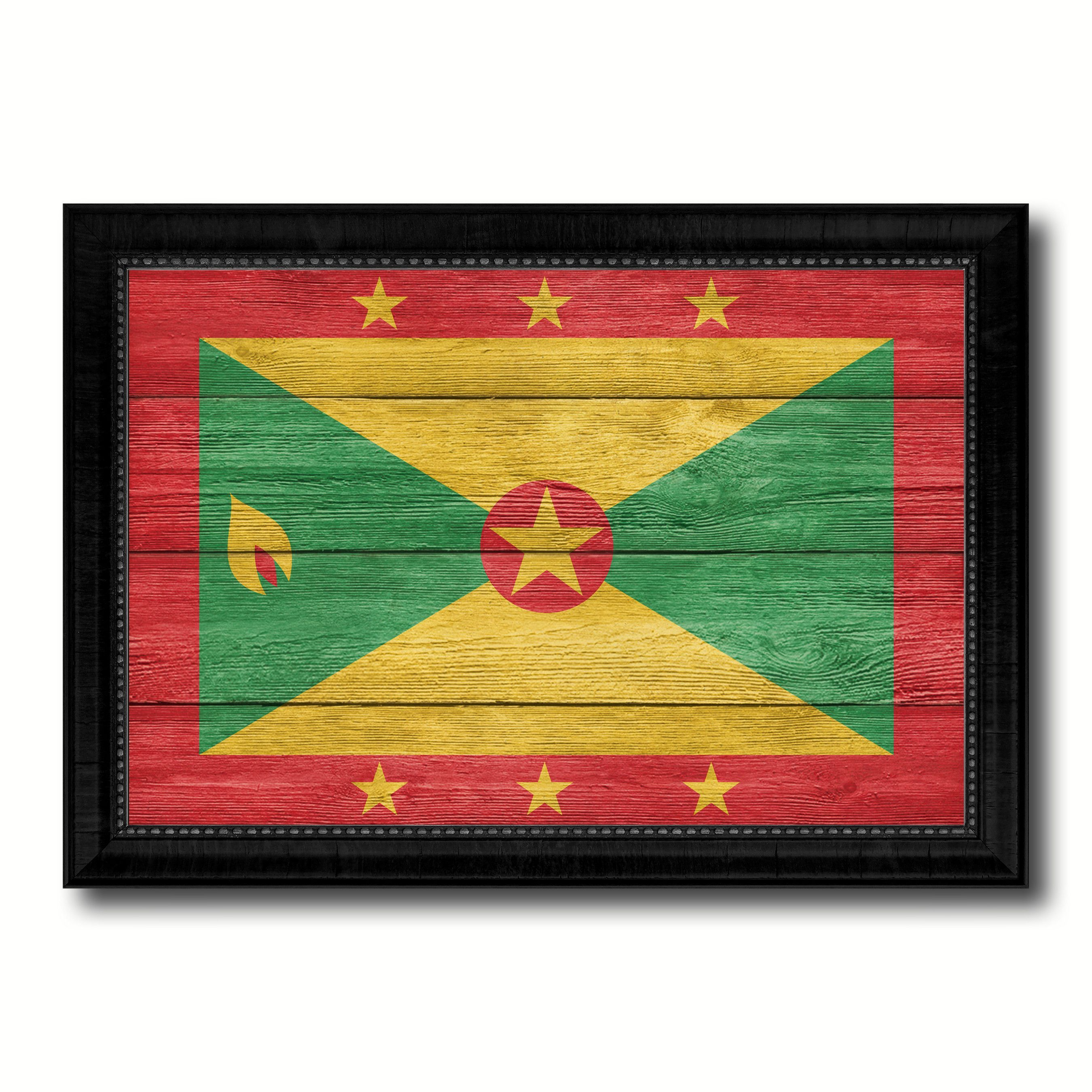 Grenada Country Flag Texture Canvas Print with Black Picture Frame ...