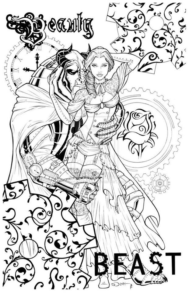 Grimm Beauty And The Beast Coloring Page Disney Coloring Pages Fairy Coloring Pages Coloring Books