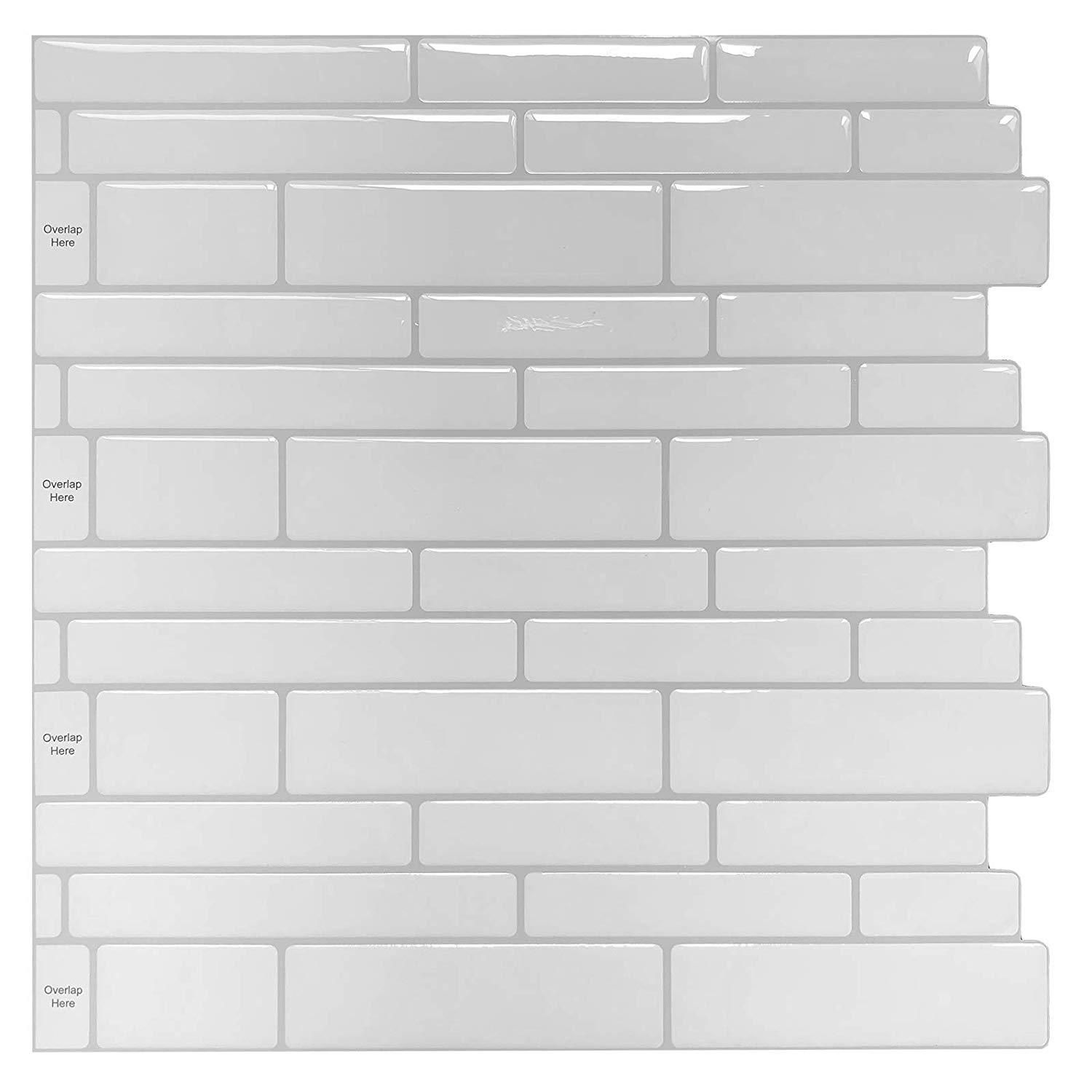 10 Sheets Peel And Stick Tile For Kitchen Backsplash 12 X12 White Subway Tile With Grey Grount Peel N Stick Backsplash Stick Tile Backsplash Stick On Tiles