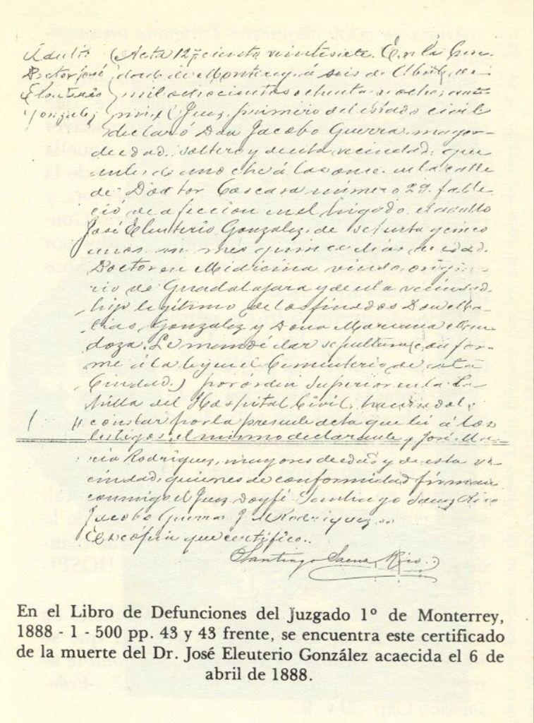 Certificado de defunción del Dr. Gonzalitos