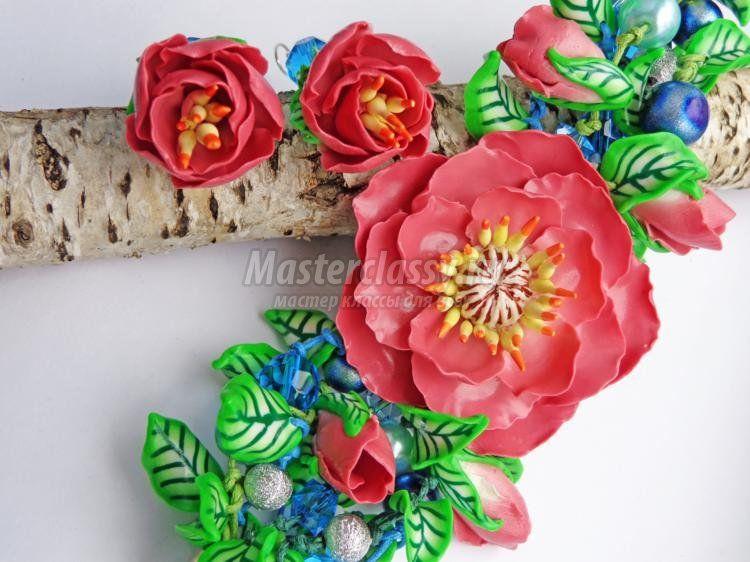 комплект украшений из полимерной глины. Райские цветы МК
