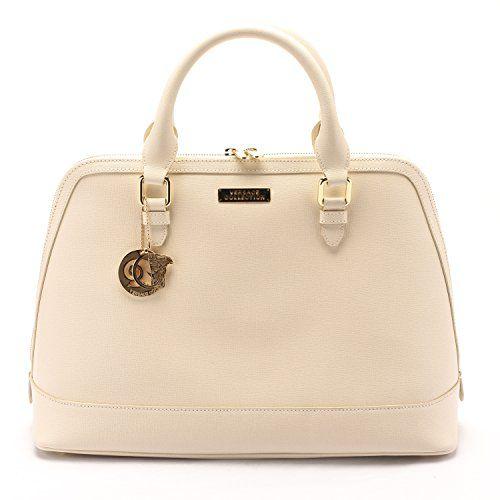 Versace Collections Women Leather Top Handle Handbag Satchel Cream ...