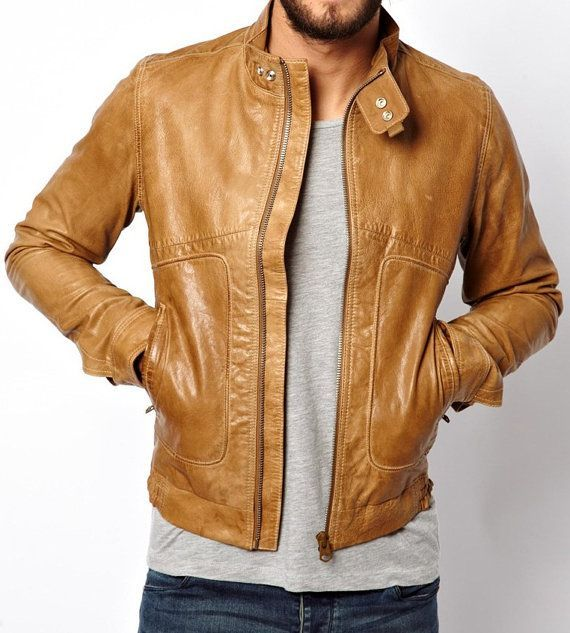 MENS LEATHER JACKET TAN COLOR JACKET MENS MENREAL | Mens