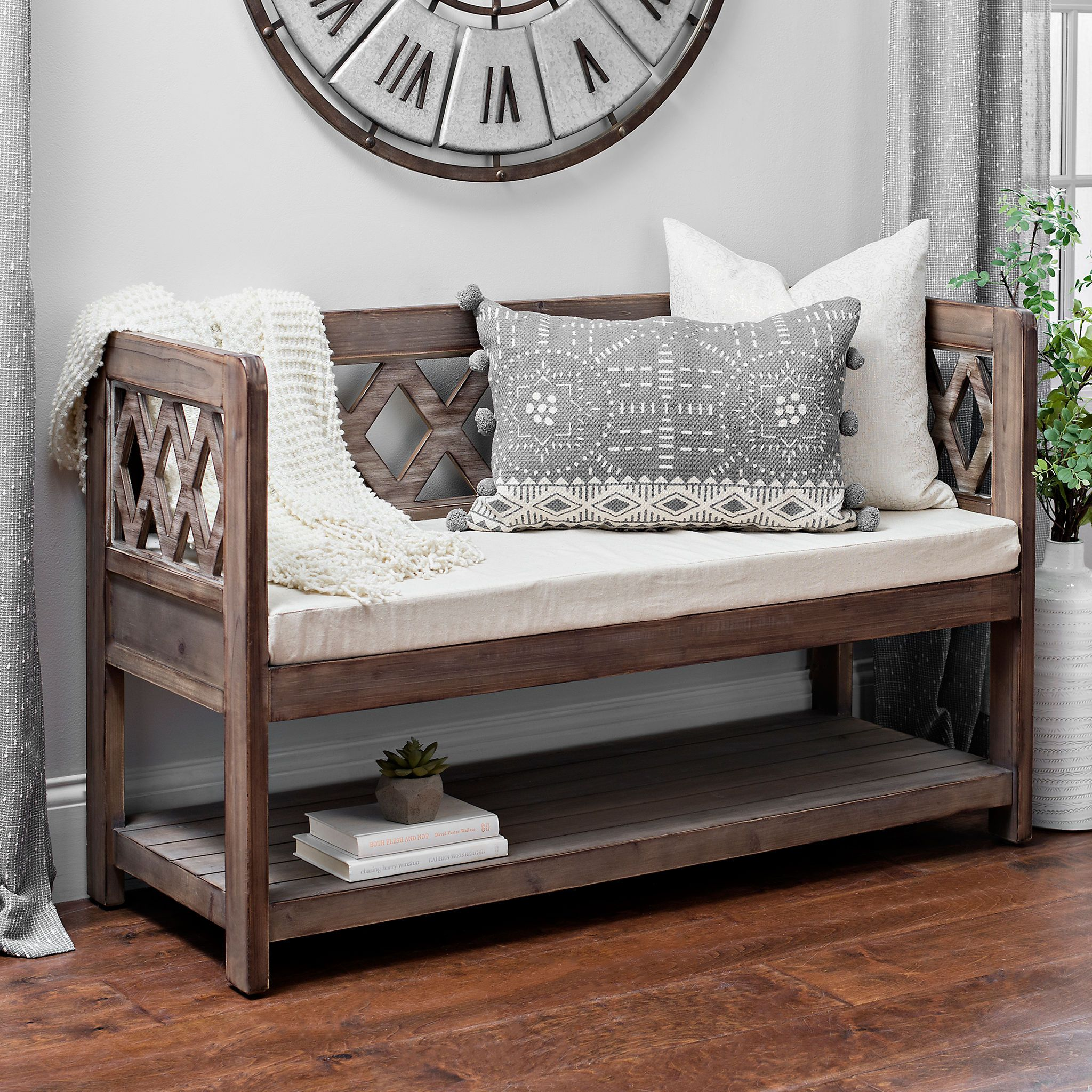 Tremendous Product Details Diamond Natural Wood Bench House Items Ncnpc Chair Design For Home Ncnpcorg