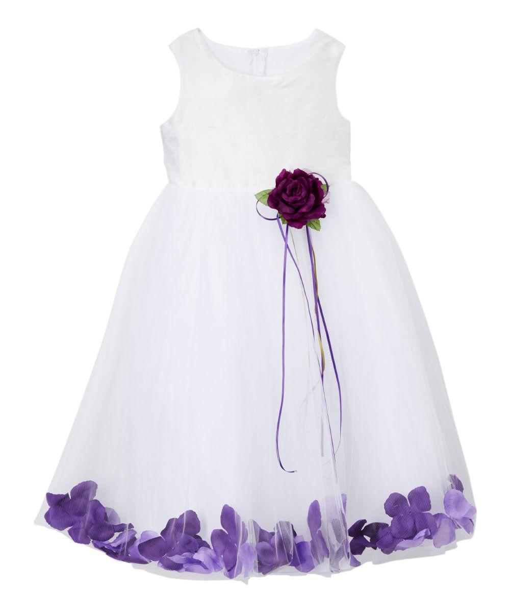 White u purple silk bodice petal aline dress girls products