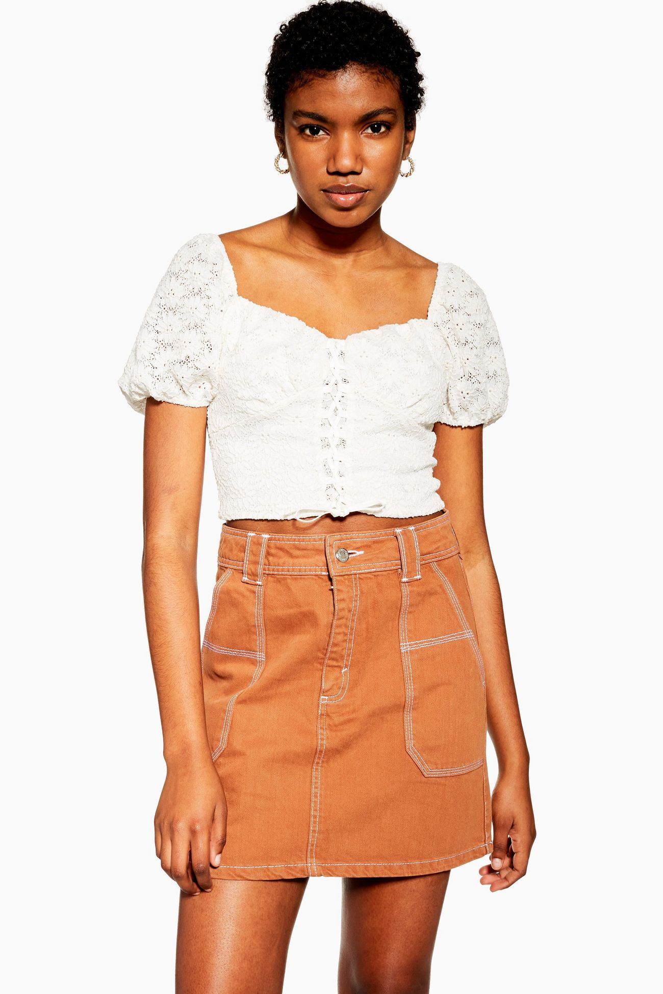9db595aed135 Floral Lace Up Crop Top in 2019 | Spring / Summer 2019 | Floral lace ...
