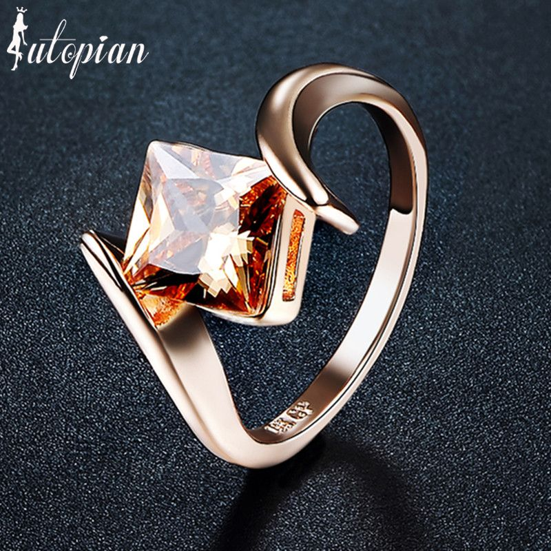 Iutopian Fashion Jewelry Elegant Rose Gold Color Square Stone Rings