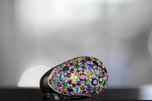 A lovely multi-colored ring....Perfect for Her on Valentine's Day!! Rubies...Sapphires...Emeralds...Garnets and more!!! http://www.elsarings.com/?page_id=144#3167