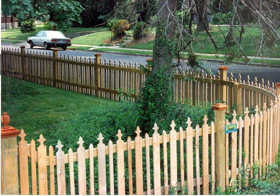 picket fence, round corner Wood picket fence, Backyard