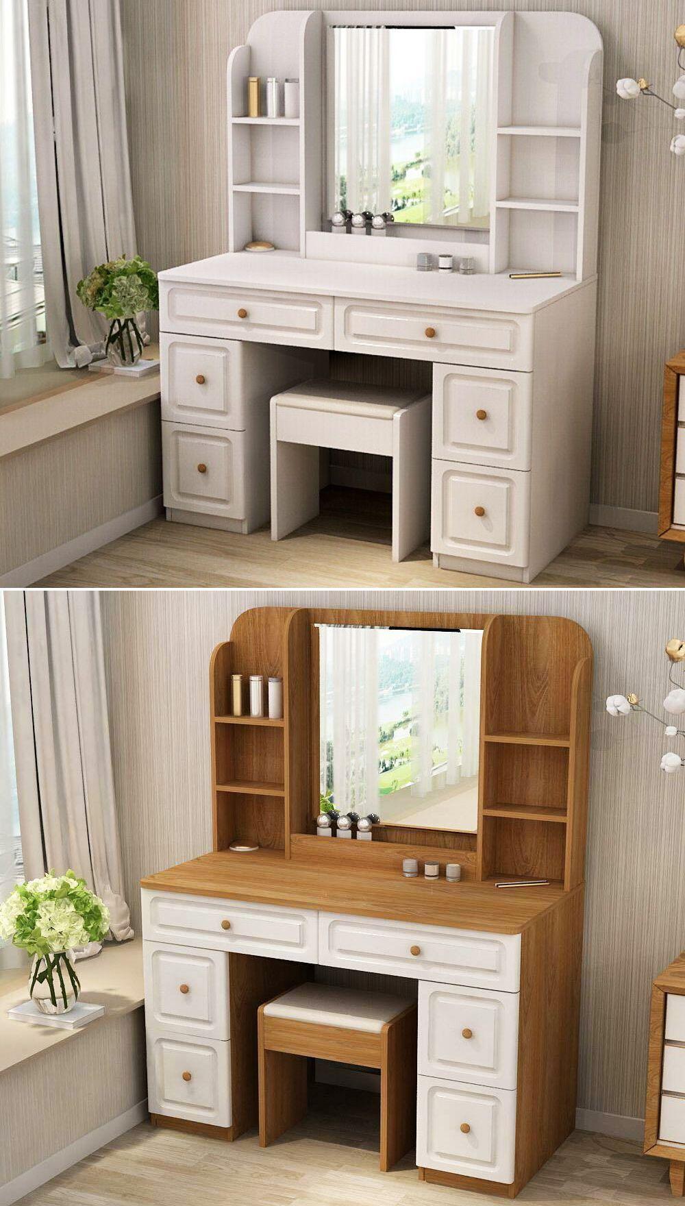 Makeup Vanity With Drawers White Vanity Desk Bedroom Vanity Set Makeup Vanity With Drawers [ 1760 x 1000 Pixel ]