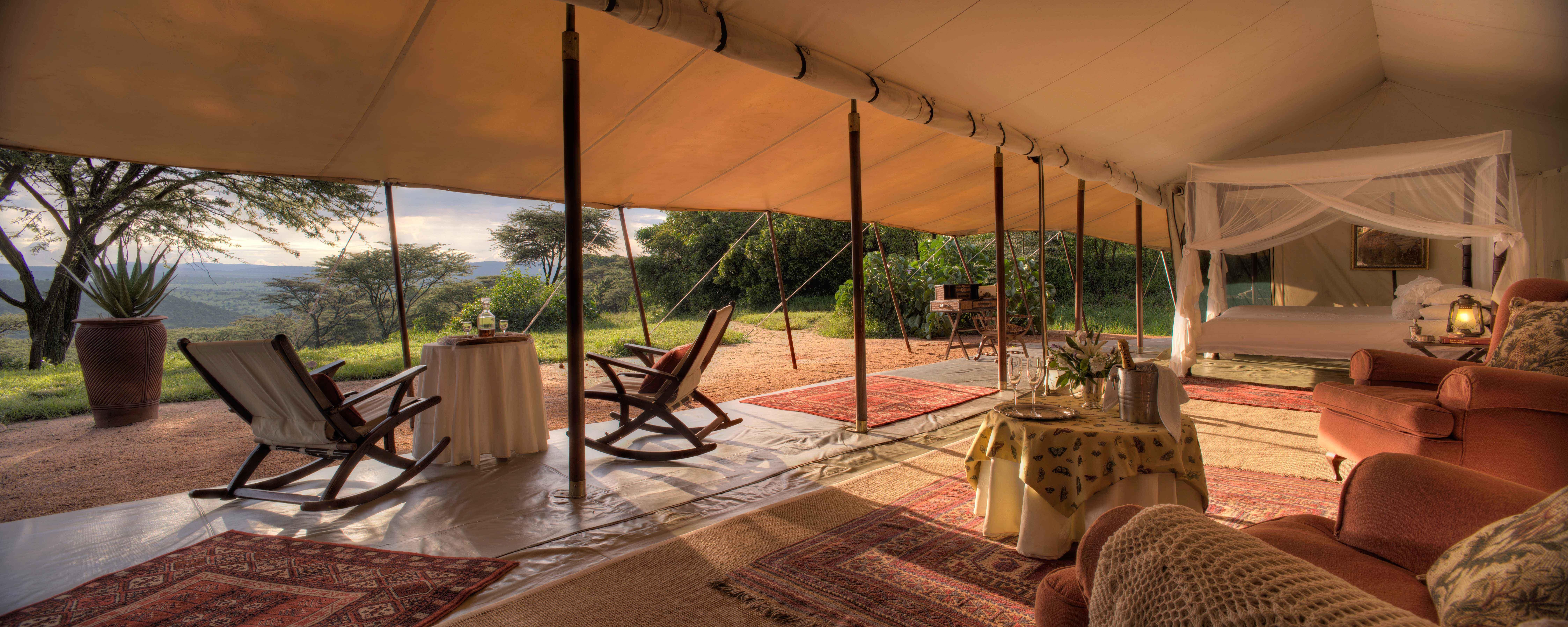 Honeymoon tent at Cottar's 1920's luxury safari lodge in