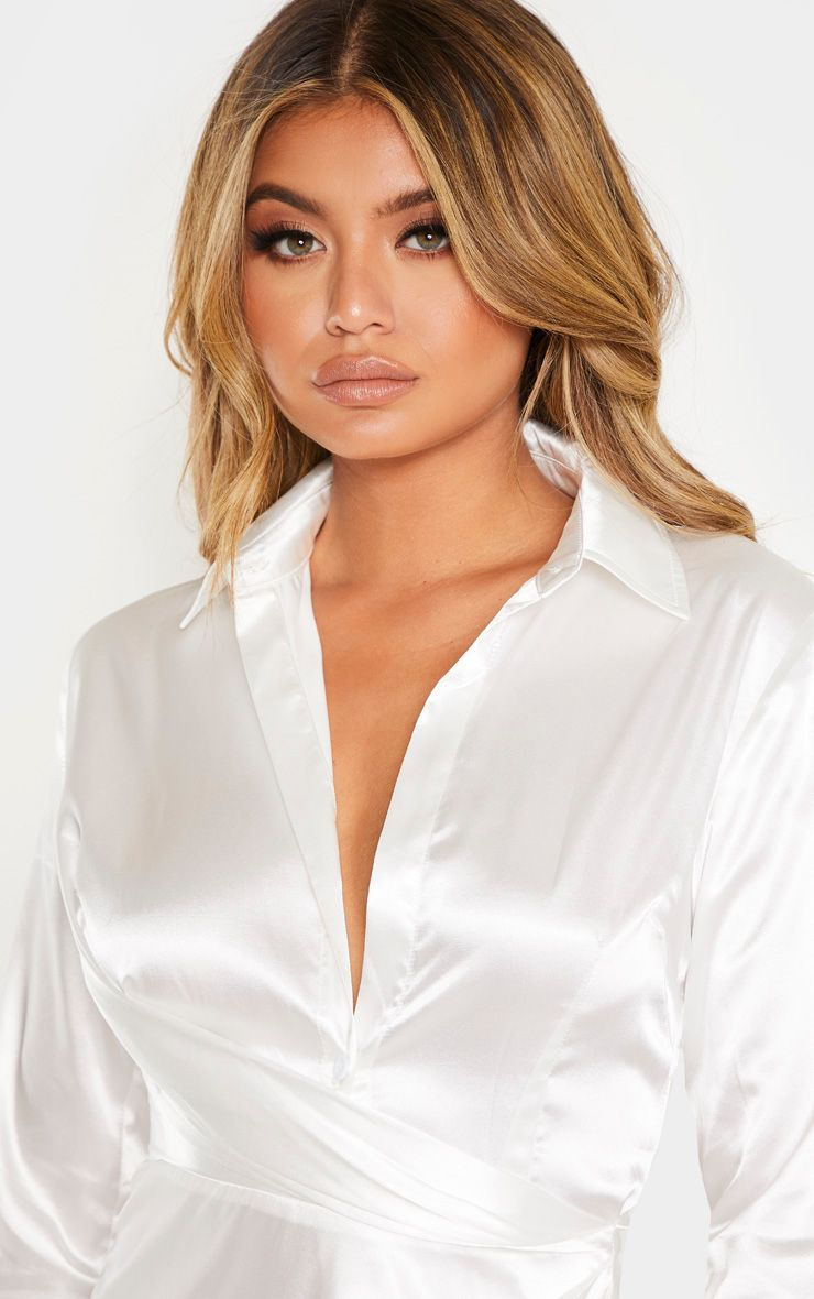 White Satin Drape Extreme Split Maxi Shirt Dress in 2020