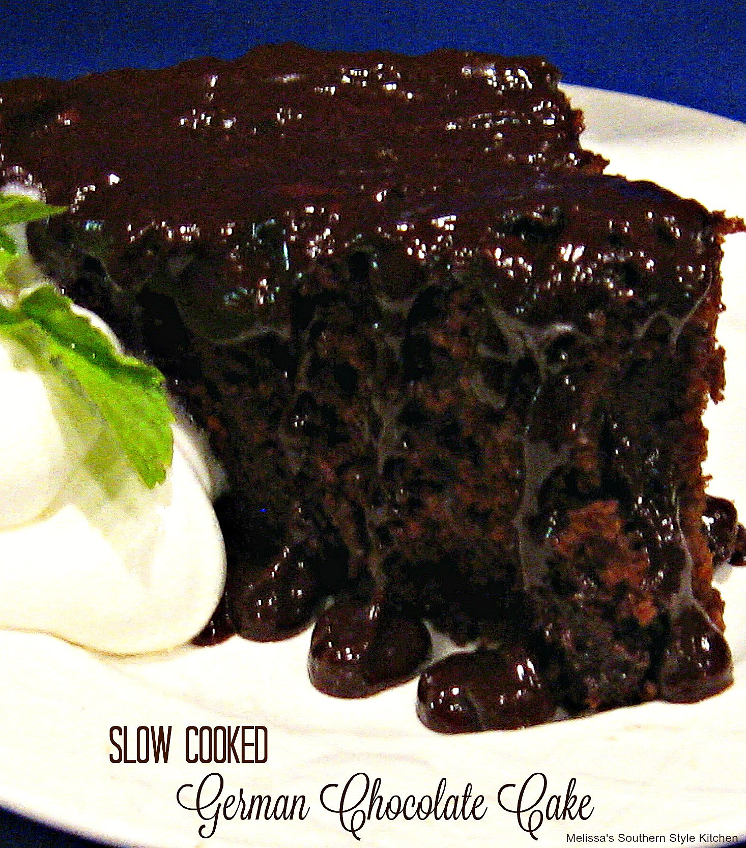 Upside down Slow Cooked German Chocolate Cake made in your slow