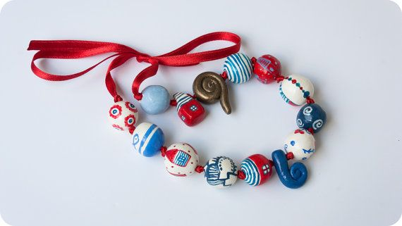 Unique Red and blue summer necklace by Liliart on Etsy, $38.00
