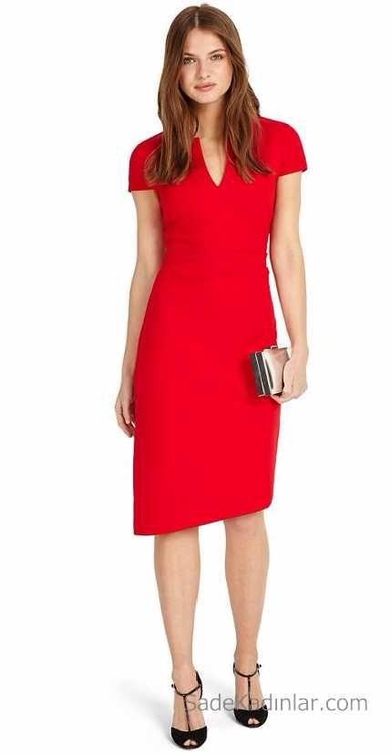 84341f01ff611 Kırmızı Elbise Diz Altı Sade Günlük Elbise | Elbise Modelleri ...
