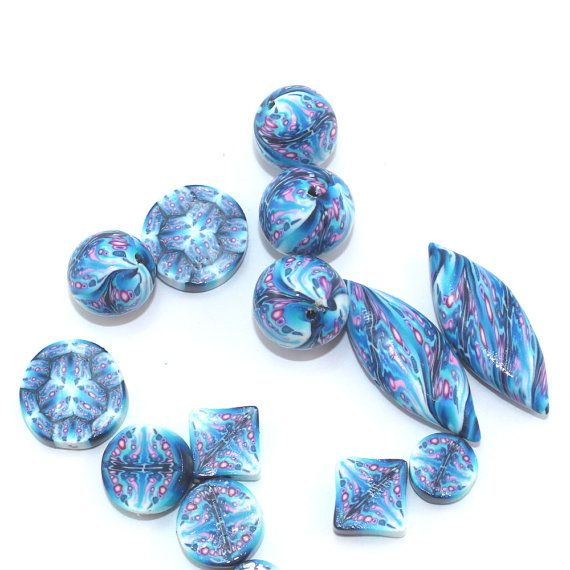 Blue kaleidoscope beads polymer clay combination by ShuliDesigns, $22.00
