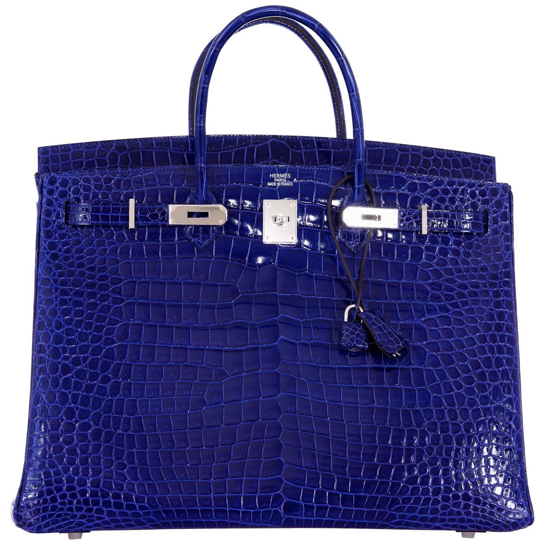 Hermes Birkin Bag 40cm Blue Electric Porosus Crocodile IMPOSSIBLE FIND!    See more vintage Top ed6d3621b84