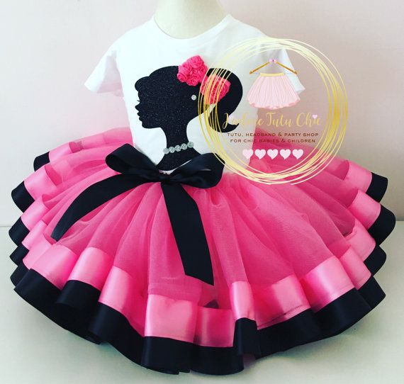 Barbie birthday outfit - hot pink birthday tutu set - pink and black ...