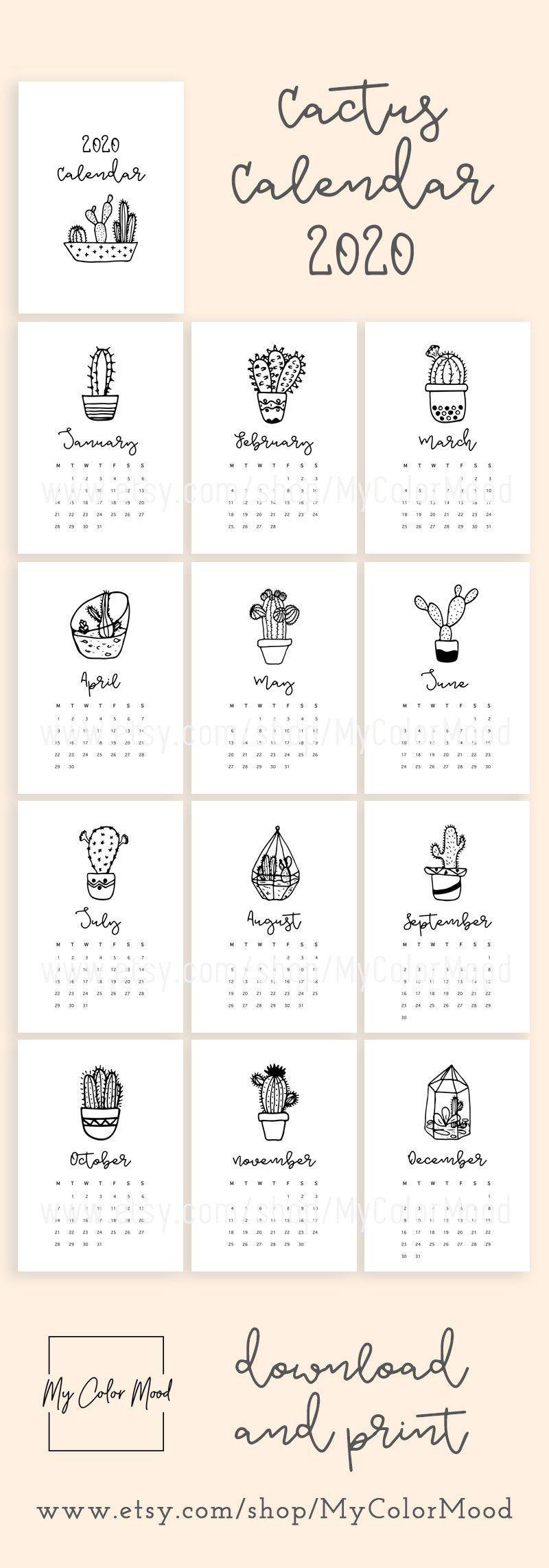 Printable calendar 2020, Minimalist desk calendar 2020
