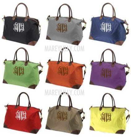 Monogrammed Khaki Weekend Travel Bag Marley Lilly Cute Gift Idea For Mom Grandma