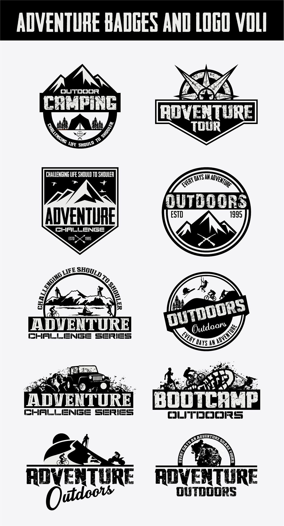 "Item Features 10 Retro Vintage Logotypes and stickers are 100% vector and 100% editable, scalable without losing detail  Files included AI and EPS format  All fonts are free for personal and commercial use  Fonts name and links given in the ""help"" file  is part of Logos -"