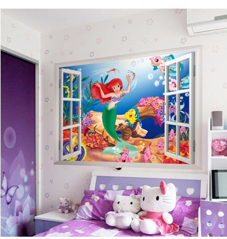 La-sirenita-pegatinas-de-pared-para-cuartos-de-los-ni-os-ZooYoo1424