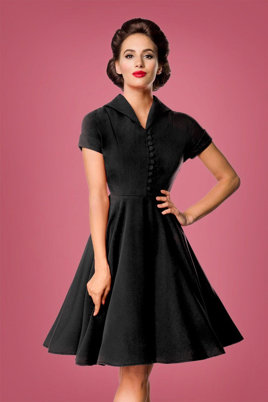 Belsira Valencia Swing Dress Années 40 en Noir