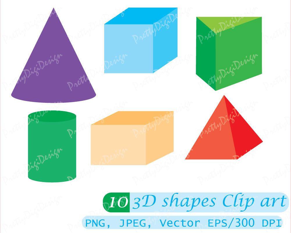 Instant download 3D Shapes, Geometry Clip art, Math Shapes ...