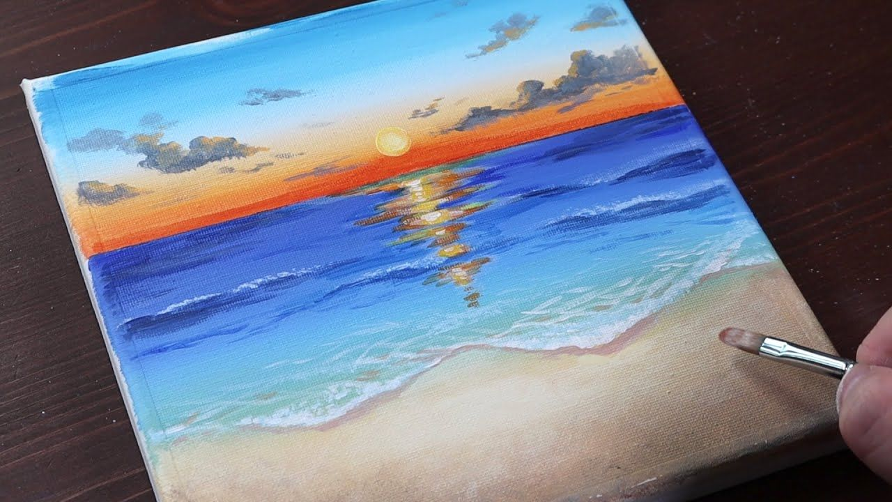Sunrise / Easy acrylic painting for beginners ...