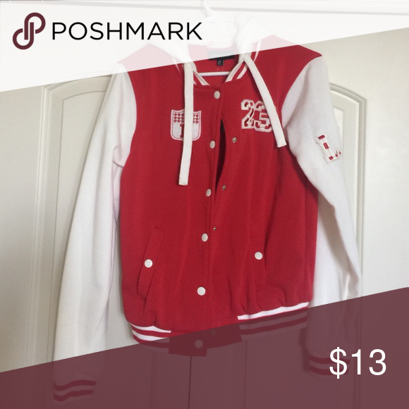 Red & White Letterman Sweater Brand new with tags! Tops Sweatshirts & Hoodies