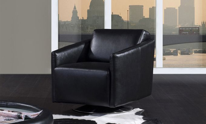 Single sofa chair Modern Deisgn and  made in 1st layer cattle leather, solide wood frame Living room Office Leather Chair  LXI13