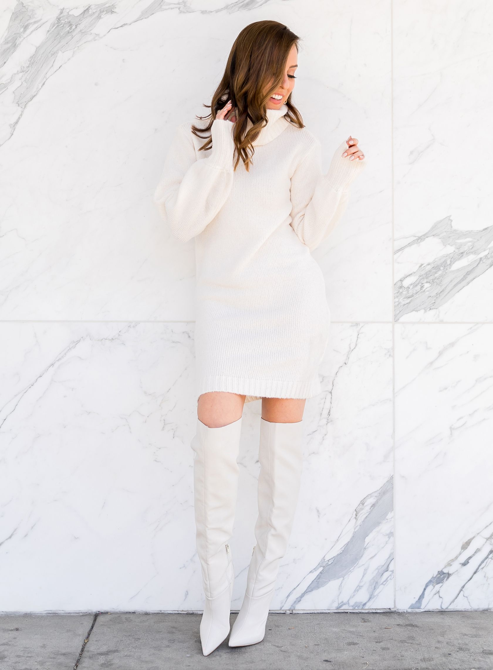 722cbb20e25 Sydne Style wears guess sweater dress for winter outfit ideas  winterwhite   otkboots  boots  white  marble  sweaterdress  sydnesummer