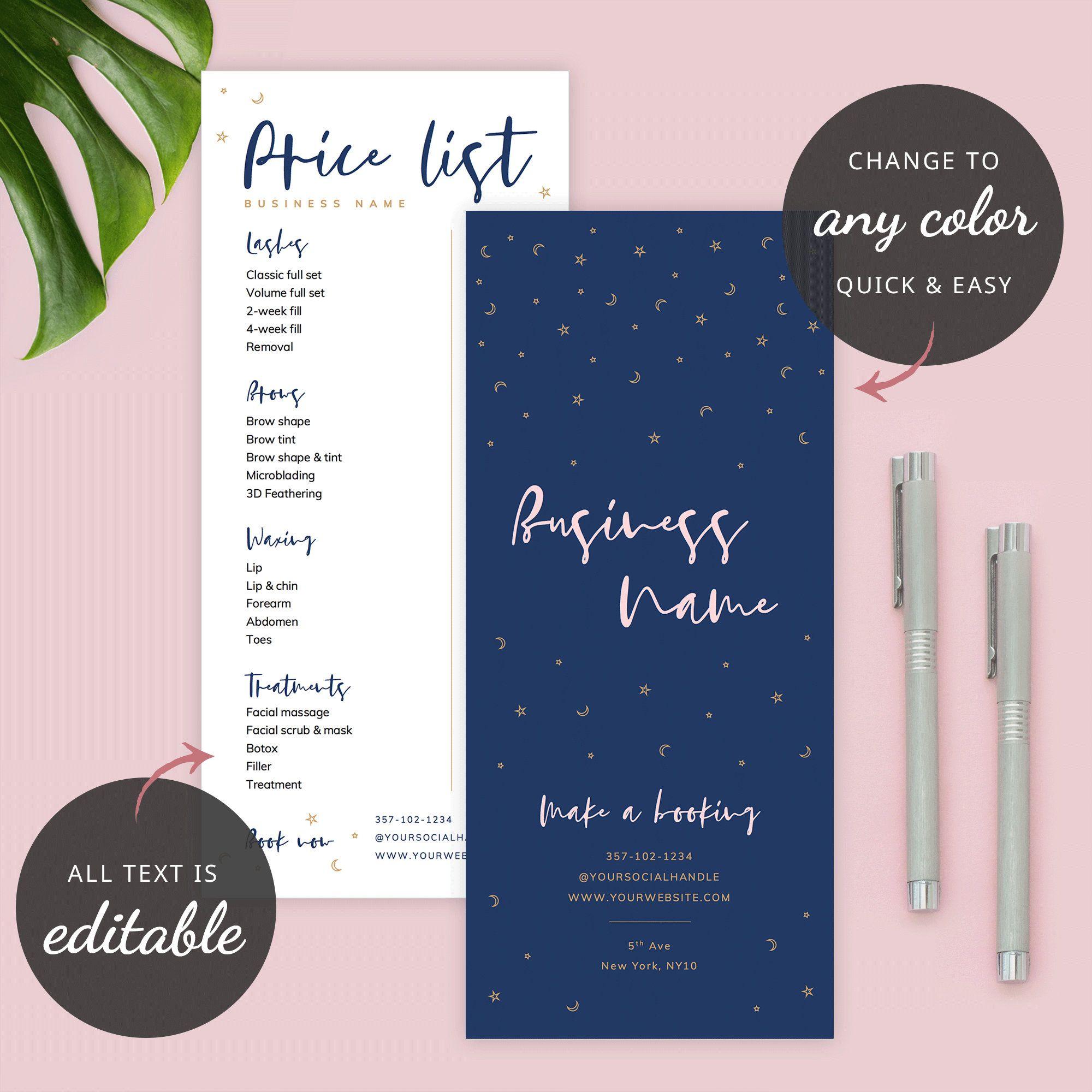 Custom Menu Template Editable Price List Printable Price Sheet Salon Price List B Photography Invoice Template Beauty Salon Price List Salon Price List