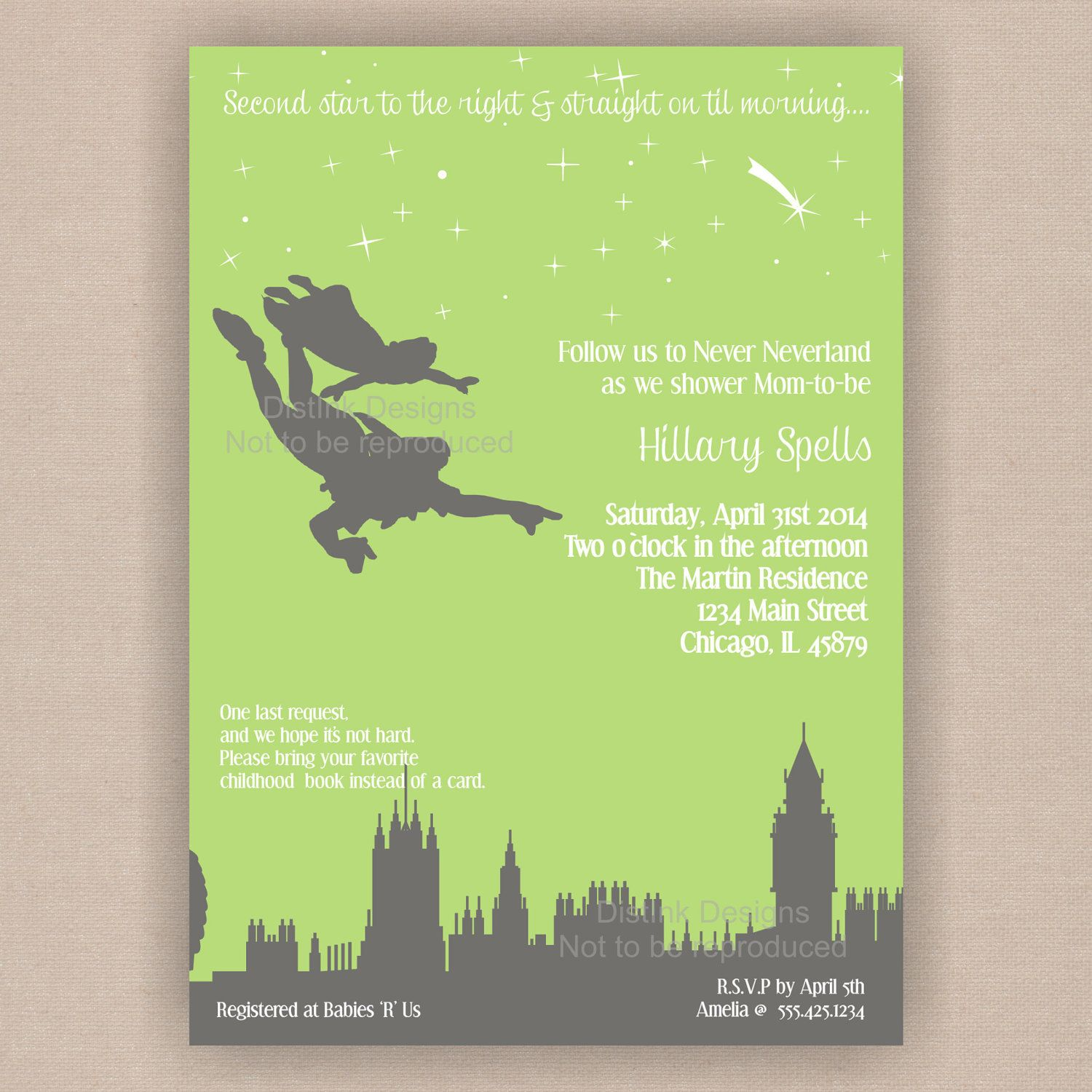 Peter Pan Never Neverland Baby Shower Invitation by DistInkDesigns ...