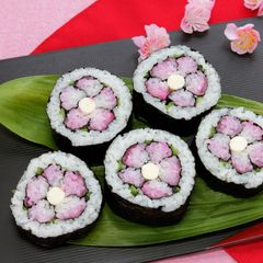 Hina Matsuri Festival Flower Sushi- plum vinegar, nori seaweed, carrot, ham, steamed spinach
