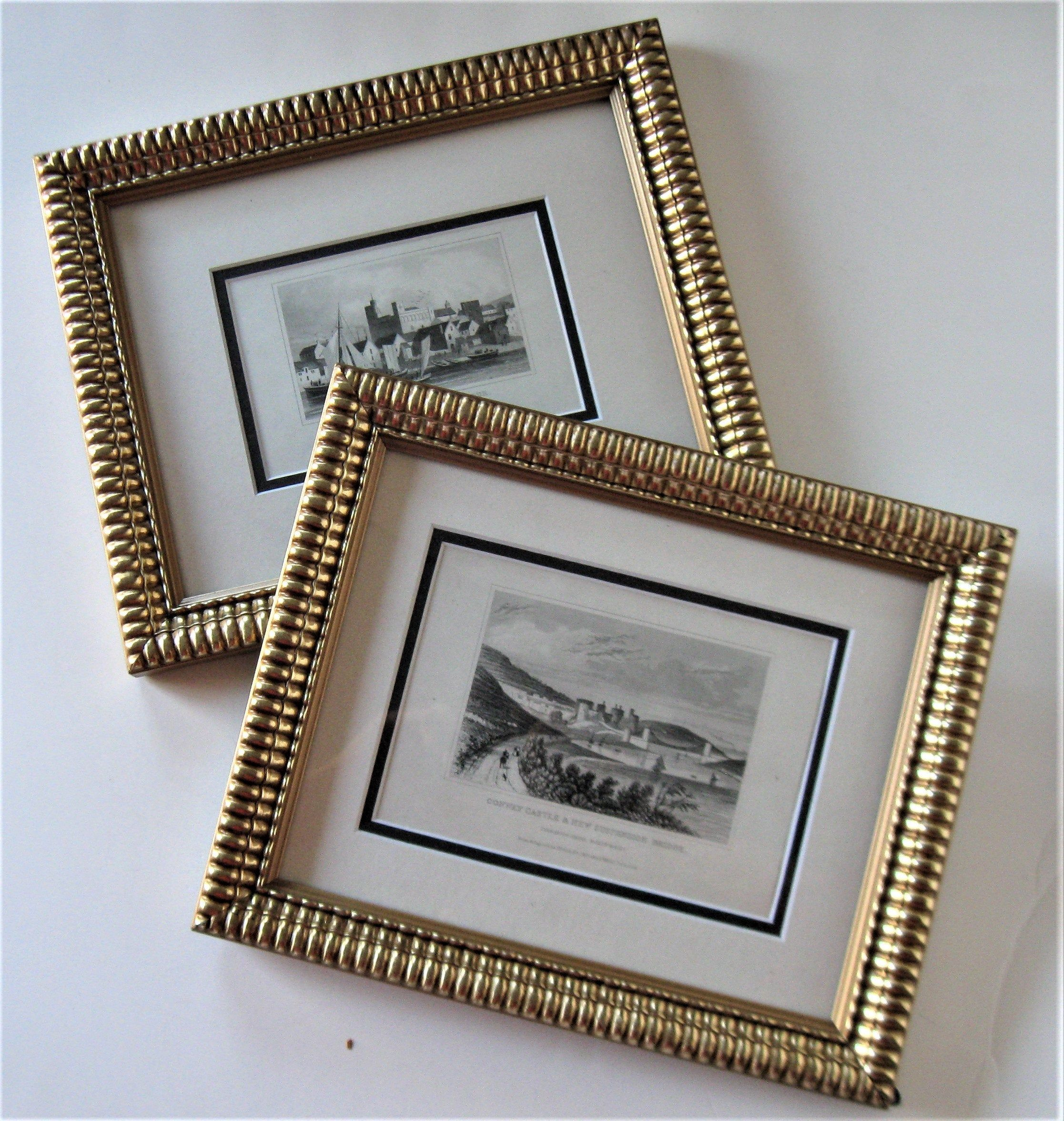 2 Vintage Gold Framed Wales England Prints 10 X Etsy In 2020 Cottage Wall Decor Vintage Framed Prints Gold Frame