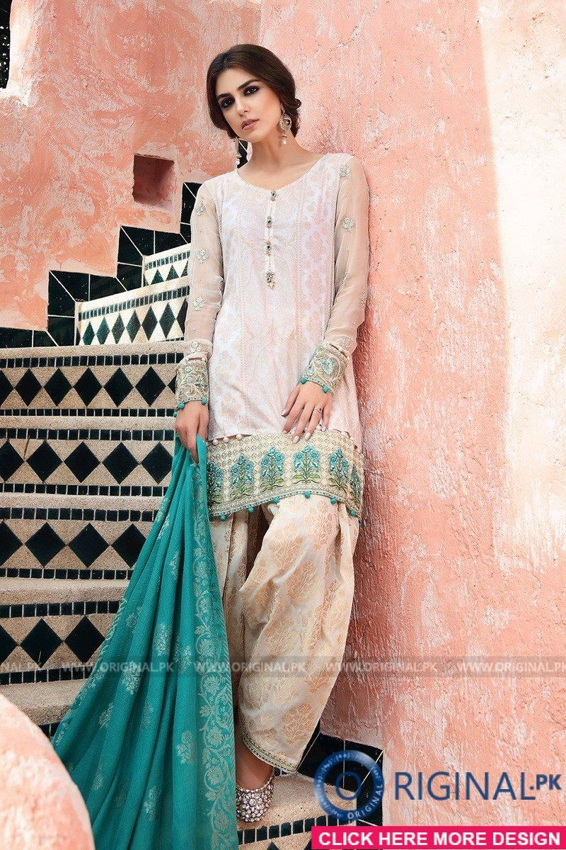 f1de303c8a Maria B D-406 Off White Lawn Eid Collection 2017 1 | Outfits in 2019 ...