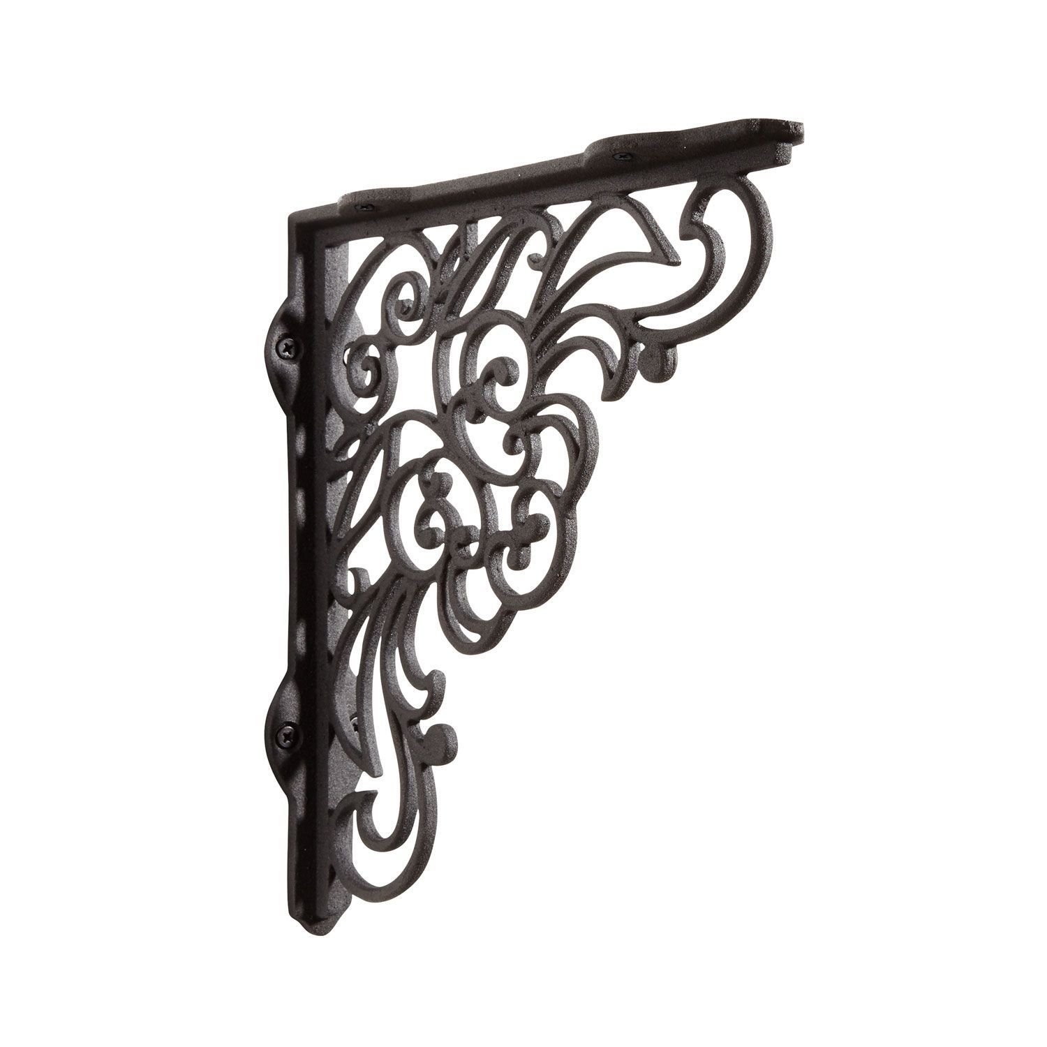 Antique Lace Cast Iron Shelf Bracket - Black Powder Coat