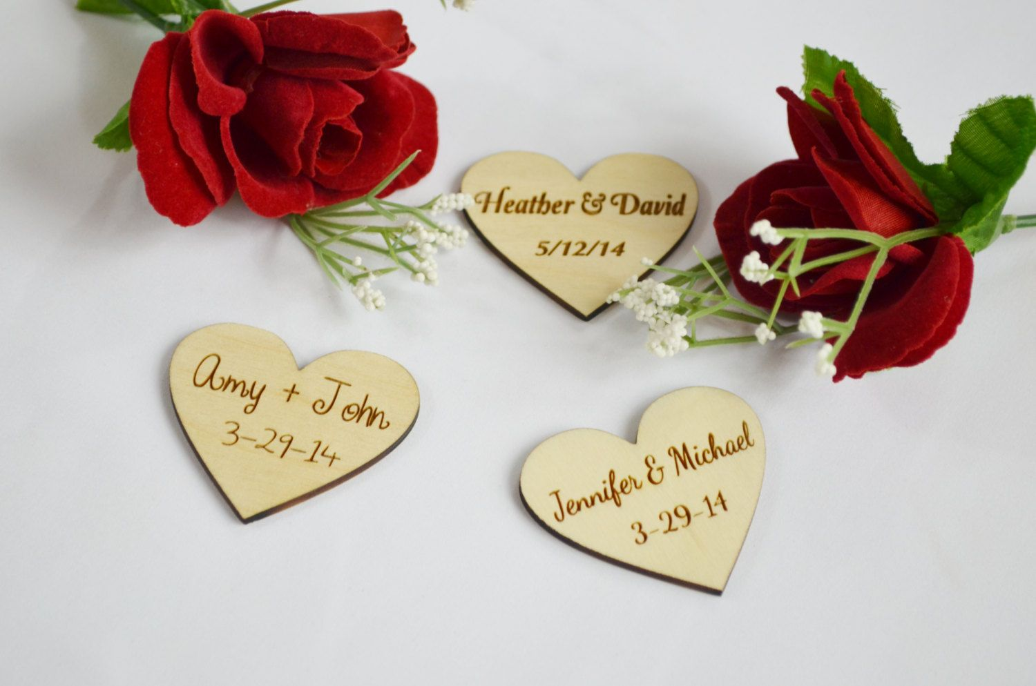 Personalized Wooden Hearts Wedding Favors Engraved By Xcaliburink