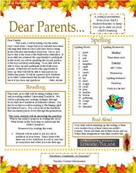 dear parents weekly parent teacher newsletter teaching ideas
