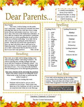 Dear Parents: Weekly Parent/Teacher Newsletter - Great Way to ...