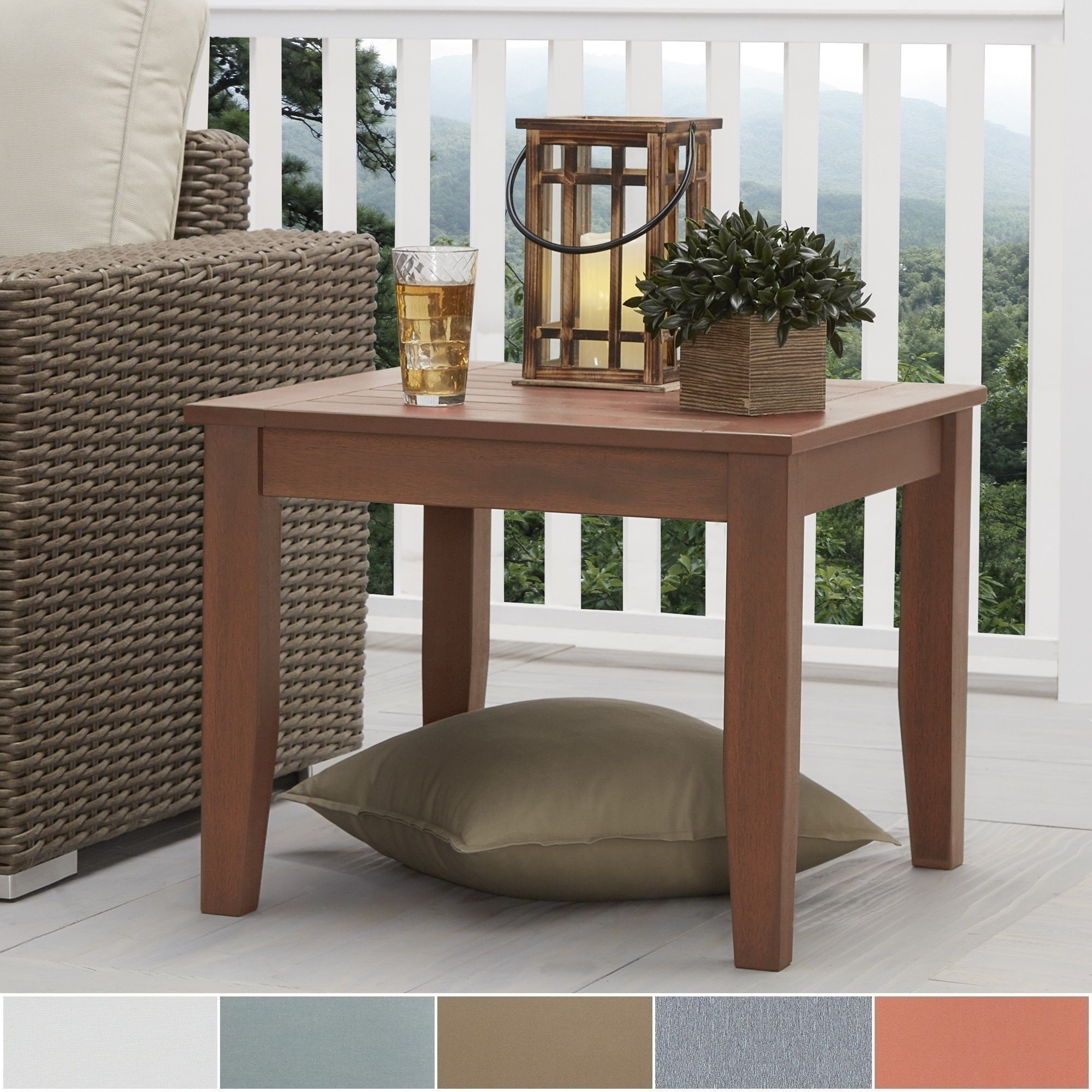 Yasawa Wood Patio Cushioned Accent Ottoman Side Table - Brown by ...