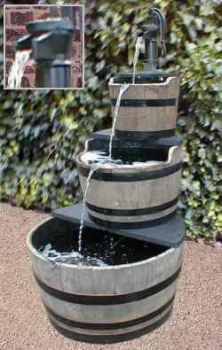 Oak Barrel Water Feature With