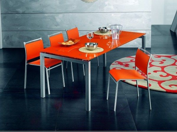 Funky Orange Dining Room Set With Glass Dining Table And Chairs