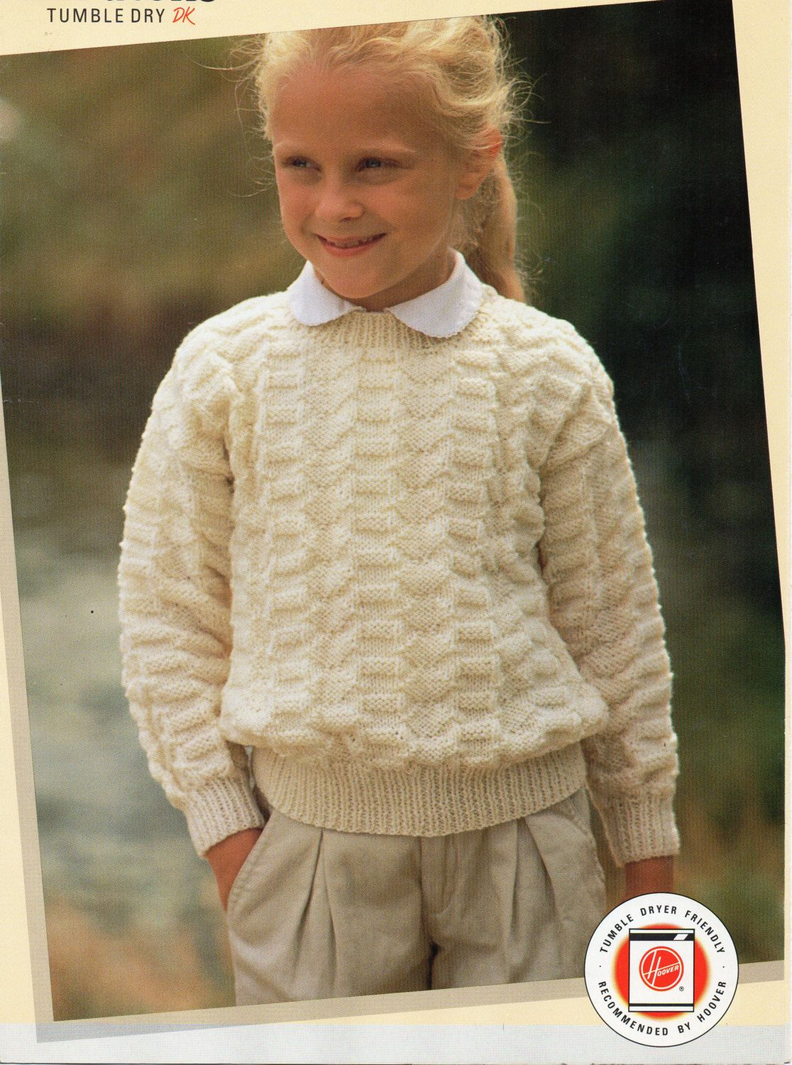 Childrens Sweater Knitting Pattern Round Neck Patterned Sweater DK ...