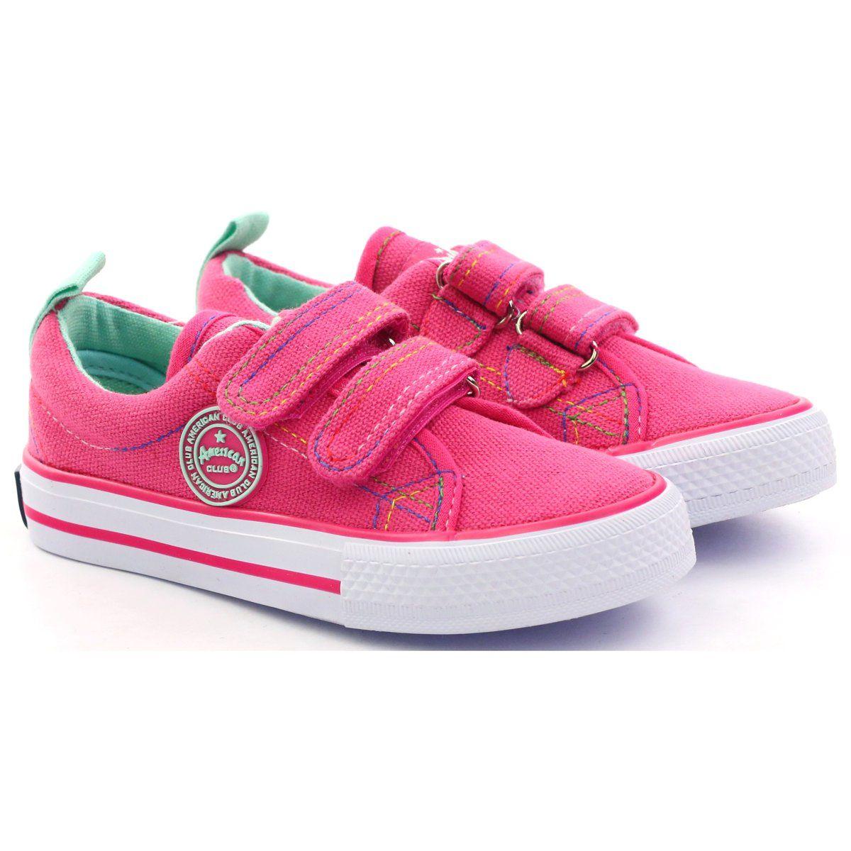 American Club Trampki Tenisowki Rzepy American Rozowe Biale Kid Shoes Childrens Sneakers Club Shoes