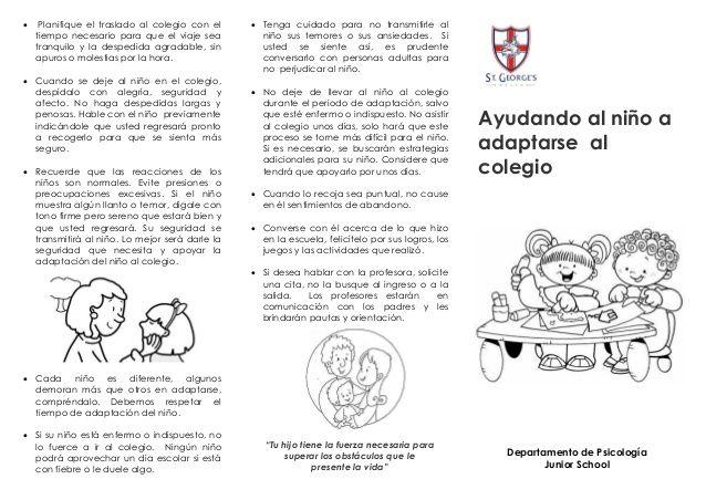 Triptico Proceso De Adaptacion Buscar Con Google Educacion Infantil Adaptación S A